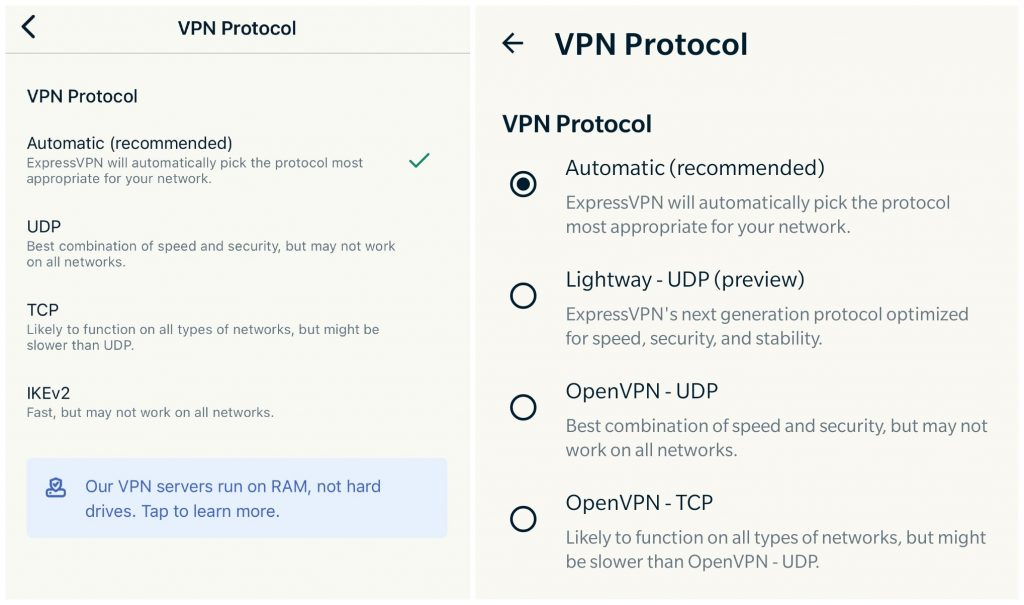 Screenshot of ExpressVPN's protocol options