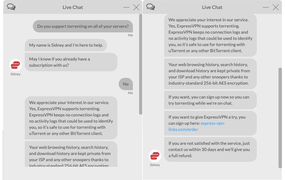 A screenshot of ExpressVPN live chat